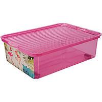 Ящик подкроватный с крышкой цветной с рисунком BranQ