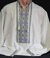 Нарядная мужская вышиванка, ручная работа (лен), 42-56 р-ры, 750\650 (цена за 1 шт. + 100 гр.)