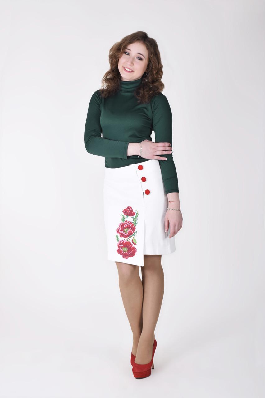 Кашемировая  асиметричная юбочка с цветочной вышивкой