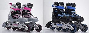 Ролики раздвижные, L (р39-41) 2 цв, шнуров+бакля, алюм.рама, колес A8072-L, фото 2