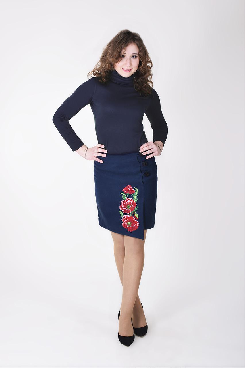 Стильная кашемировая юбка ассиметричный крой с запахом