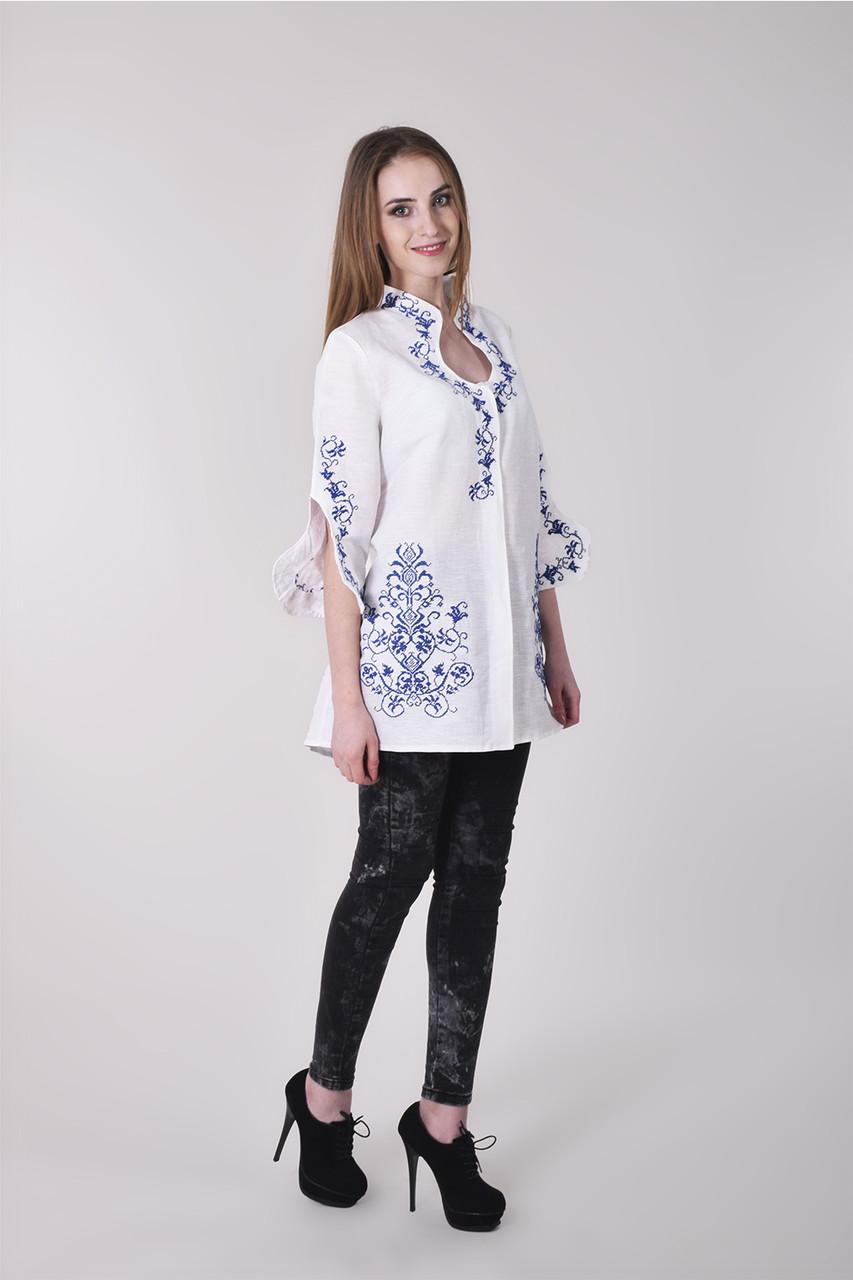 094c9995afe Женская вышитая блуза-туника из льна оригинального кроя - Оптово-розничный  магазин одежды