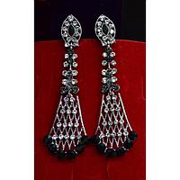 Серьги длинные, в восточном стиле с камнями, серебристый металл, английская застежка 001494