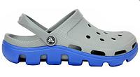 Мужские кроксы Crocs серые с голубым