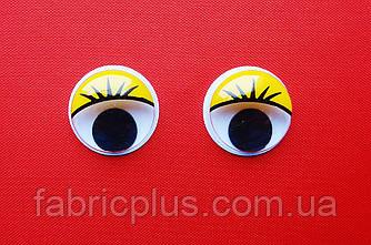 Глазки   цветные  с  ресничками  15мм  (желтые)