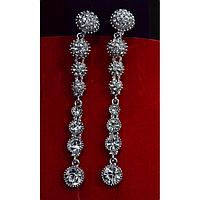 Серьги длинные, в восточном стиле с камнями, серебристый металл 001497