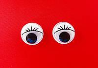Глазки   цветные  с  ресничками  15мм  (белые)