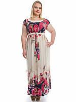 """Летнее платье в пол больших размеров, """"Розовый цветок"""" 590"""