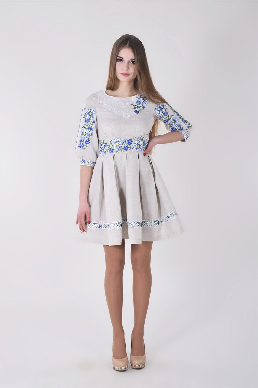 Милое платье Луговые ромашки элегантный белый узор и ажурные вышитые пуговицы на спинке