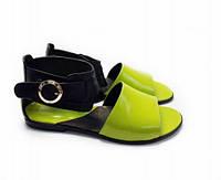 Женские босоножки без каблука, натуральная кожа черного и салатового цвета, фото 1