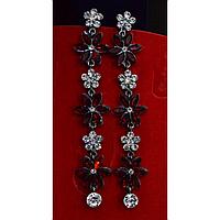 """Серьги длинные, в восточном стиле с камнями """"Красные цветы"""" 001499"""