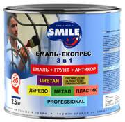 SMILE Эмаль-экспресс 3 в 1 антикоррозионная,  гладкое цветное покрытие. Зеленая  2,6 кг