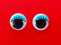 Глазки   цветные  с  ресничками  15мм  (голубые)
