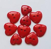 Пуговицы фигурные «Сердца красные» 9 шт., фото 1