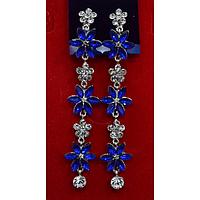 """Серьги длинные, в восточном стиле с камнями """"Ярко-голубые цветы"""" 001503"""