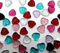 Полубусина (5 штук) Сердце микс Пластик 10 мм