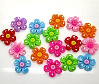 Полубусина (5 штук)Цветок микс Пластик 21 мм (товар при заказе от 200 грн)