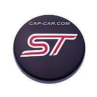 Колпачки заглушки для литых дисков  Ford ST черный с красным