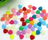 Полубусина (5 штук)Сердце микс Пластик 9 мм (товар при заказе от 200 грн)