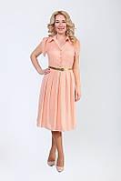 Модное женское платье из шифона в горошек