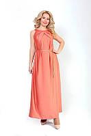 Легкое коралловое платье в пол