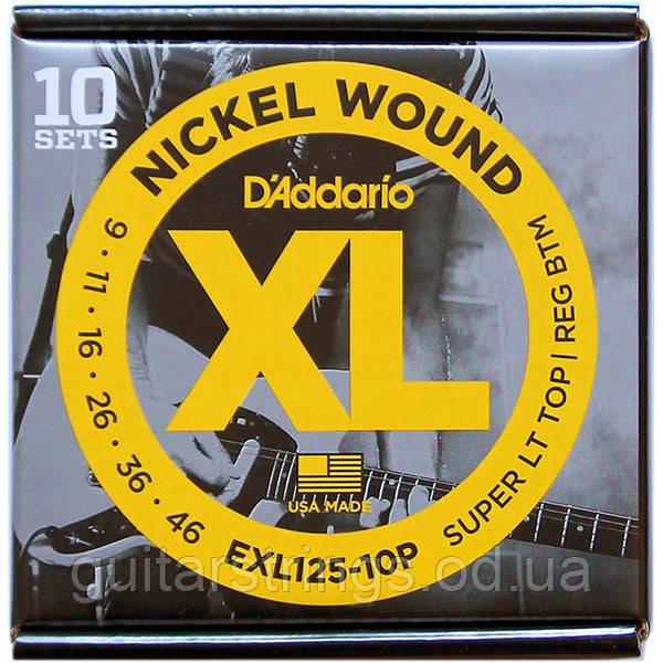 Струны D'Addario EXL125-10P Nickel Wound 9-46 10 set