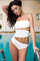Эффектный женский купальник-монокини с плотными вставками без бретелек бифлекс