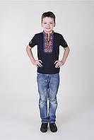 Детская футболка вышиванка в черном цвете на мальчика