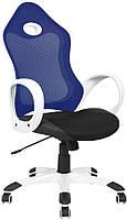 Кресло Матрикс-1 Белый, сиденье Сетка черная/спинка Сетка синяя