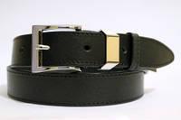 Ремень кожаный классический 35 мм черный с чёрной ниткой пряжка серебрянная металический тренчик