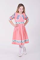 Нарядное платье в нежно-розовом цвете из льна  для девочек  с вышитыми цветами