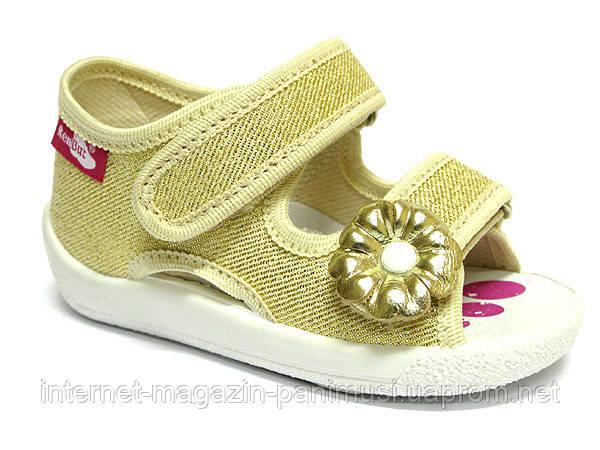 Детские сандали для девочки желтые размер 19-27 Renbut  Ортопедическая вкладка.
