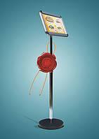 Рекламно-информационная стойка, информационная стойка, стойка на ножке с клик-системой
