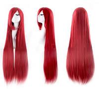 Парик искусственные волосы аниме красный карнавальный 100см косплей cosplay прямой ровный