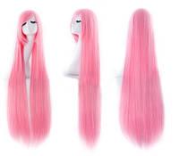 Парик искусственные волосы аниме розовый карнавальный 100см косплей cosplay прямой ровный