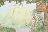 Верх деми футболка с длинным рукавом , рукав - реглан, на груди - сердце из клеевых жемчужин дев. желтый бискв