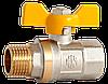 """Кран шаровый 1/2"""" НВ (желтая бабочка) с проточкой AMG"""