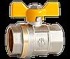 """Кран шаровый 3/4"""" ВВ (желтая бабочка) с проточкой AMG"""