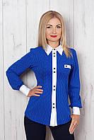 Нарядная женская рубашка в горошек с белым воротничком