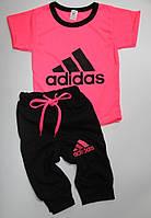 Детский летний костюм для девочек ''Adidas'' розовый-неон