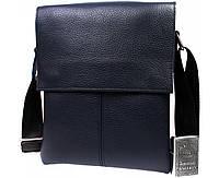 Стильная синяя сумка из натуральной фактурной кожи 24х18х5-6см.