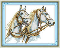 """Набор для вышивки крестом  """"Пара лошадей  """""""