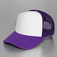 Фиолетовая кепка тракер с белым