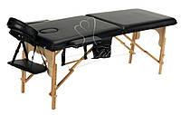 Массажный стол двухсегментный Body Fit, кушетка деревянная, стол для массажа (Черный), фото 1