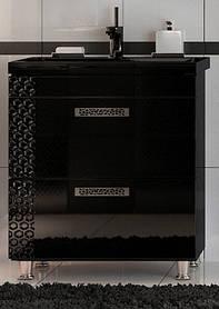 Тумба Сота Черная ТМ ЛЕОС с умывальником Y70