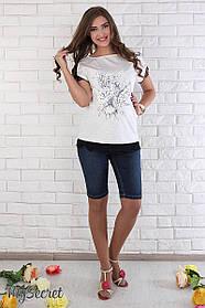 Джинсовые шорты для беременных Juli SH-26.041 темно-синие с потертостями