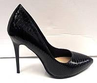 Туфли женские лаковые на шпильке кожа питона  KF0301