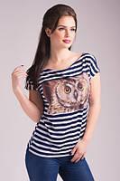 Стильная летняя футболка в полоску с принтом. Арт-5431/55