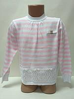 Кофта для девочки, бело-розовые полоски
