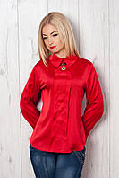 Модная женская блуза из атласа воротник стойка украшен брошью